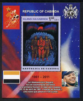 Cabinda Province 2011 Tribute to Yuri Gagarin - Paintings #12 perf souvenir sheet  unmounted mint