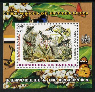 Cabinda Province 2011 The World of Butterflies #6 perf souvenir sheet  unmounted mint, stamps on butterflies, stamps on heraldry, stamps on flags