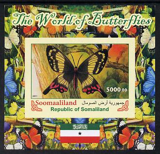 Somaliland 2011 The World of Butterflies #5 imperf souvenir sheet  unmounted mint