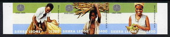 Sierra Leone 1995 50th Anniversary of Food & Agriculture Organisation imperf strip of 3 unmounted mint, as SG 2329-31