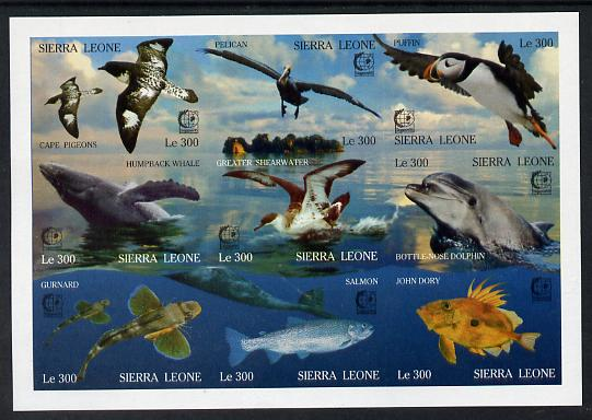 Sierra Leone 1995 Singapore '95 Stamp Exhibition - Marine Life imperf sheetlet #2 containing 9 values unmounted mint, as SG 2356a