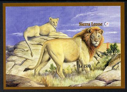 Sierra Leone 1995 Singapore '95 Stamp Exhibition - African Flora & Fauna imperf m/sheet #2 (Lions) unmounted mint, as SG MS2382b