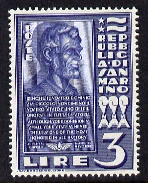 San Marino 1938 Bust of Abraham Lincoln 3L steel blue (ex m/sheet) unmounted mint as SG 232a