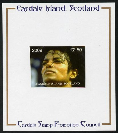Easdale 2009 Michael Jackson imperf \A32.50 mounted on Publicity proof card issued by the Easdale Stamp Promotion Council
