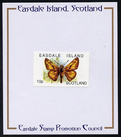 Easdale 1996 Butterflies - 10p Large Skipper mounted on Publicity proof card issued by the Easdale Stamp Promotion Council