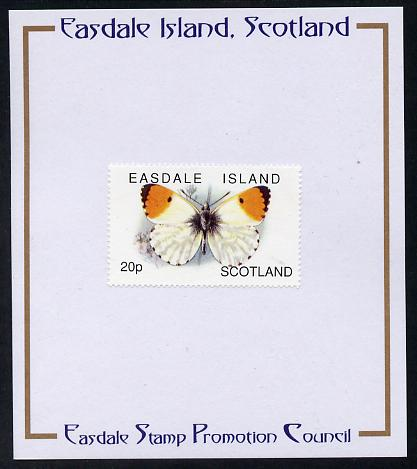 Easdale 1996 Butterflies - 20p Orange-Tip mounted on Publicity proof card issued by the Easdale Stamp Promotion Council