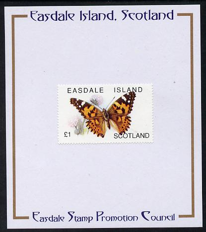 Easdale 1996 Butterflies - \A31 Painted Lady mounted on Publicity proof card issued by the Easdale Stamp Promotion Council