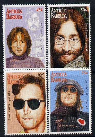 Antigua 1995 15th Death Anniversary of John Lennon perf set of 4 unmounted mint SG 2255-58