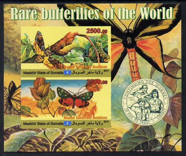 Maakhir State of Somalia 2011 Rare Butterflies #2 (with Scout Badge) imperf sheetlet containing 2 values unmounted mint