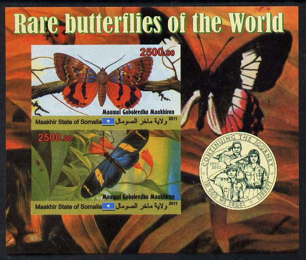 Maakhir State of Somalia 2011 Rare Butterflies #3 (with Scout Badge) imperf sheetlet containing 2 values unmounted mint