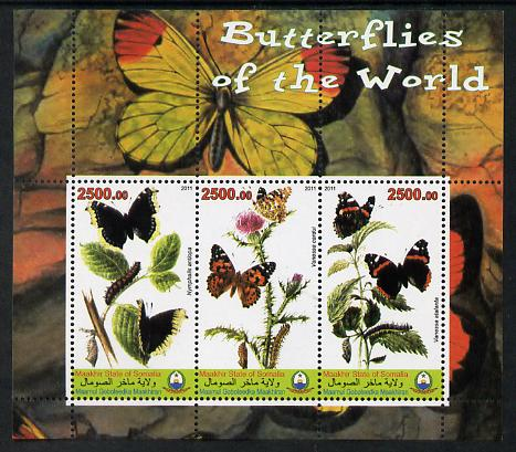 Maakhir State of Somalia 2011 Butterflies of the World #3 perf sheetlet containing 3 values unmounted mint