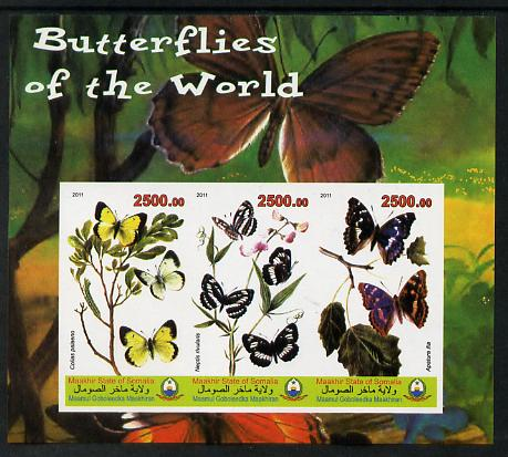 Maakhir State of Somalia 2011 Butterflies of the World #4 imperf sheetlet containing 3 values unmounted mint
