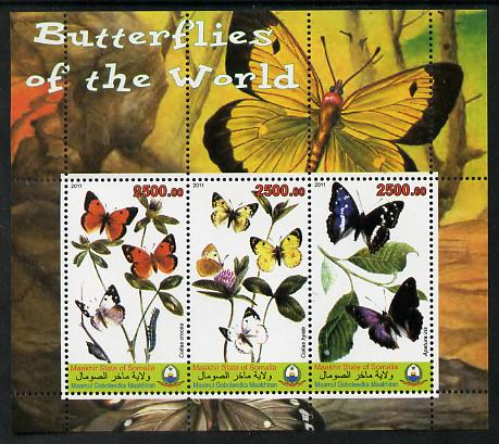 Maakhir State of Somalia 2011 Butterflies of the World #5 perf sheetlet containing 3 values unmounted mint
