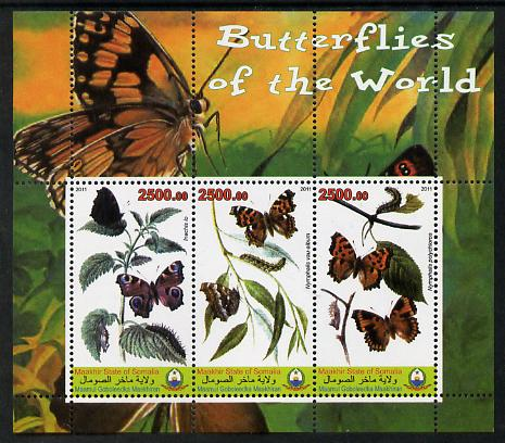 Maakhir State of Somalia 2011 Butterflies of the World #6 perf sheetlet containing 3 values unmounted mint