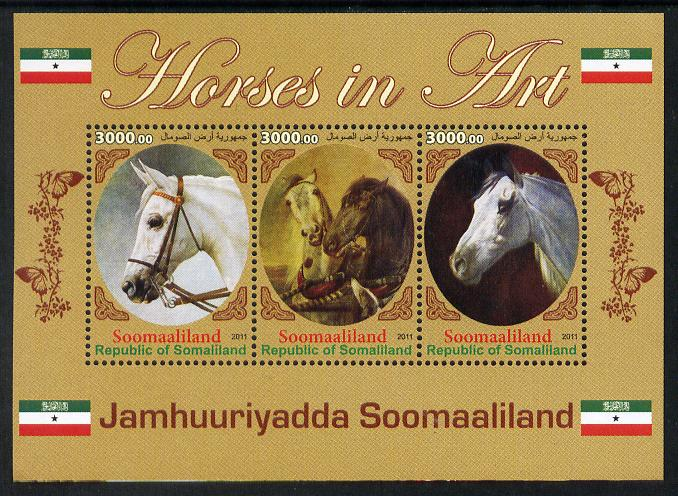 Somaliland 2011 Horses in Art perf sheetlet containing 3 values unmounted mint