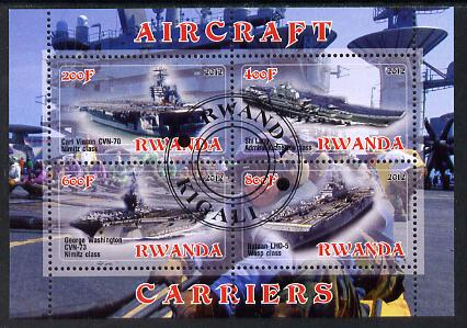 Rwanda 2012 Aircraft Carriers #5 perf sheetlet containing 4 values fine cto used