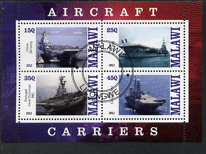 Malawi 2012 Aircraft Carriers #4 perf sheetlet containing 4 values fine cto used