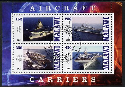 Malawi 2012 Aircraft Carriers #5 perf sheetlet containing 4 values fine cto used