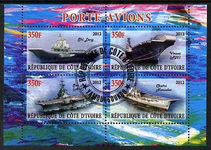 Ivory Coast 2012 Aircraft Carriers #5 perf sheetlet containing 4 values fine cto used
