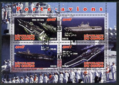 Congo 2012 Aircraft Carriers #5 perf sheetlet containing 4 values fine cto used
