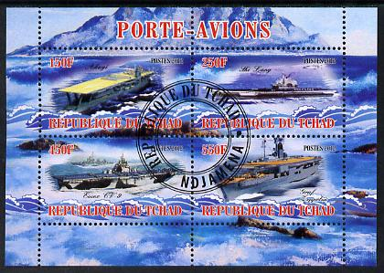 Chad 2012 Aircraft Carriers #4 perf sheetlet containing 4 values fine cto used
