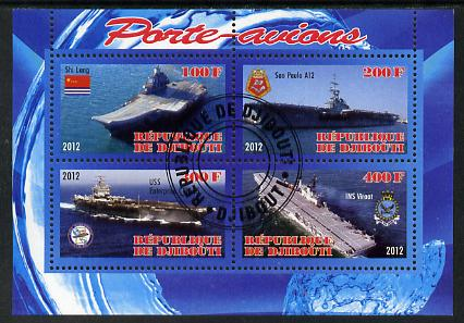 Djibouti 2012 Aircraft Carriers #3 perf sheetlet containing 4 values fine cto used