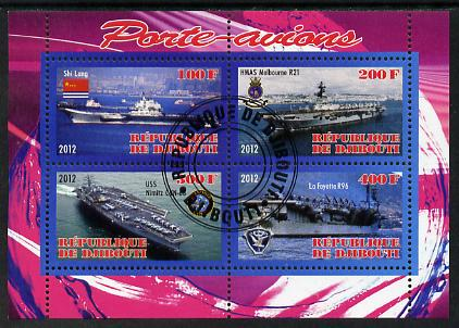 Djibouti 2012 Aircraft Carriers #4 perf sheetlet containing 4 values fine cto used