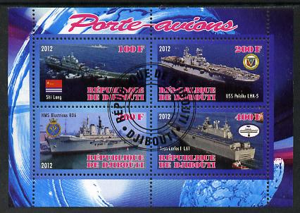 Djibouti 2012 Aircraft Carriers #5 perf sheetlet containing 4 values fine cto used