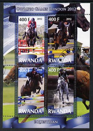 Rwanda 2012 London Olympic Games - Equestrian perf sheetlet containing 4 values fine cto used