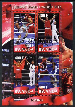 Rwanda 2012 London Olympic Games - Boxing perf sheetlet containing 4 values fine cto used
