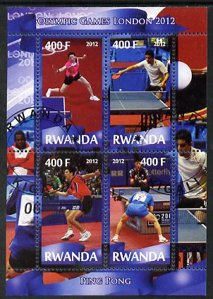Rwanda 2012 London Olympic Games - Table Tennis perf sheetlet containing 4 values fine cto used