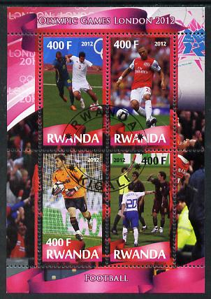 Rwanda 2012 London Olympic Games - Football perf sheetlet containing 4 values fine cto used