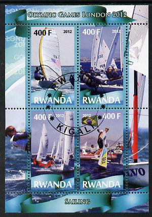 Rwanda 2012 London Olympic Games - Sailing perf sheetlet containing 4 values fine cto used