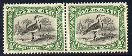 South West Africa 1931 Kori Bustard 1/2d bilingual horizontal pair unmounted mint SG 74