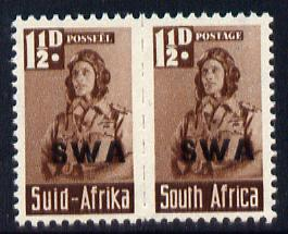 South West Africa 1943-44 KG6 War Effort (reduced size) Airman 1/5d bilingual horizontal pair overprinted, unmounted mint SG 125
