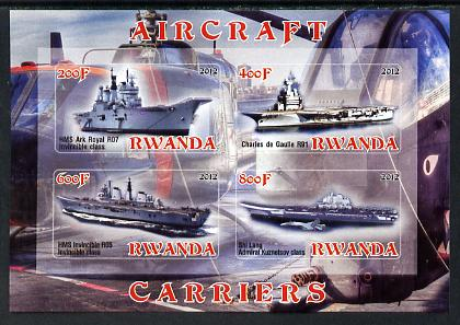 Rwanda 2012 Aircraft Carriers #4 imperf sheetlet containing 4 values unmounted mint