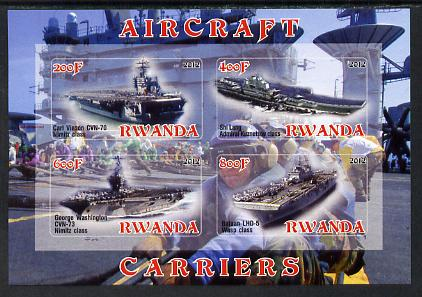 Rwanda 2012 Aircraft Carriers #5 imperf sheetlet containing 4 values unmounted mint