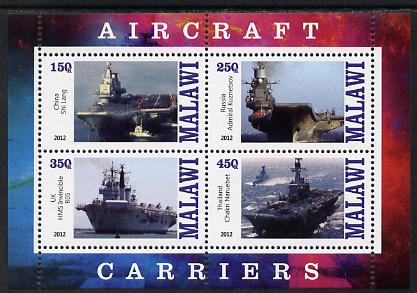 Malawi 2012 Aircraft Carriers #3 perf sheetlet containing 4 values unmounted mint