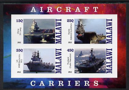 Malawi 2012 Aircraft Carriers #3 imperf sheetlet containing 4 values unmounted mint
