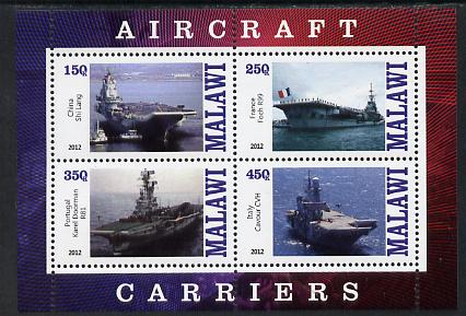 Malawi 2012 Aircraft Carriers #4 perf sheetlet containing 4 values unmounted mint