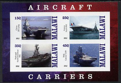 Malawi 2012 Aircraft Carriers #4 imperf sheetlet containing 4 values unmounted mint