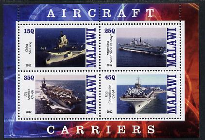 Malawi 2012 Aircraft Carriers #5 perf sheetlet containing 4 values unmounted mint