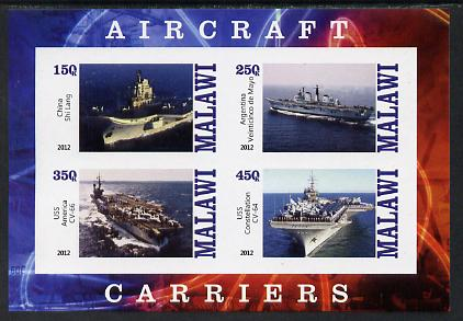 Malawi 2012 Aircraft Carriers #5 imperf sheetlet containing 4 values unmounted mint