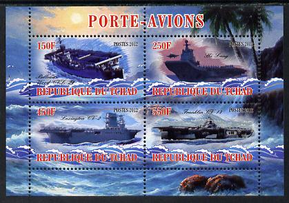 Chad 2012 Aircraft Carriers #3 perf sheetlet containing 4 values unmounted mint