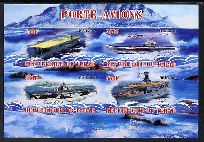 Chad 2012 Aircraft Carriers #4 imperf sheetlet containing 4 values unmounted mint