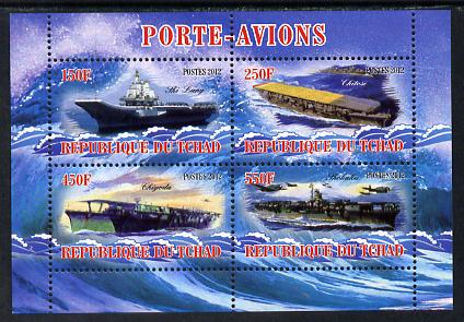 Chad 2012 Aircraft Carriers #5 perf sheetlet containing 4 values unmounted mint