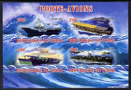 Chad 2012 Aircraft Carriers #5 imperf sheetlet containing 4 values unmounted mint