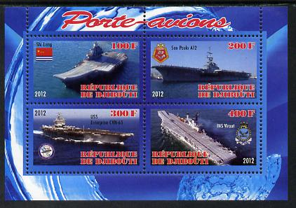 Djibouti 2012 Aircraft Carriers #3 perf sheetlet containing 4 values unmounted mint