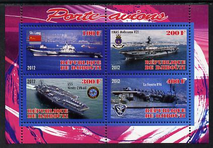 Djibouti 2012 Aircraft Carriers #4 perf sheetlet containing 4 values unmounted mint