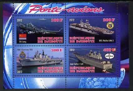 Djibouti 2012 Aircraft Carriers #5 perf sheetlet containing 4 values unmounted mint